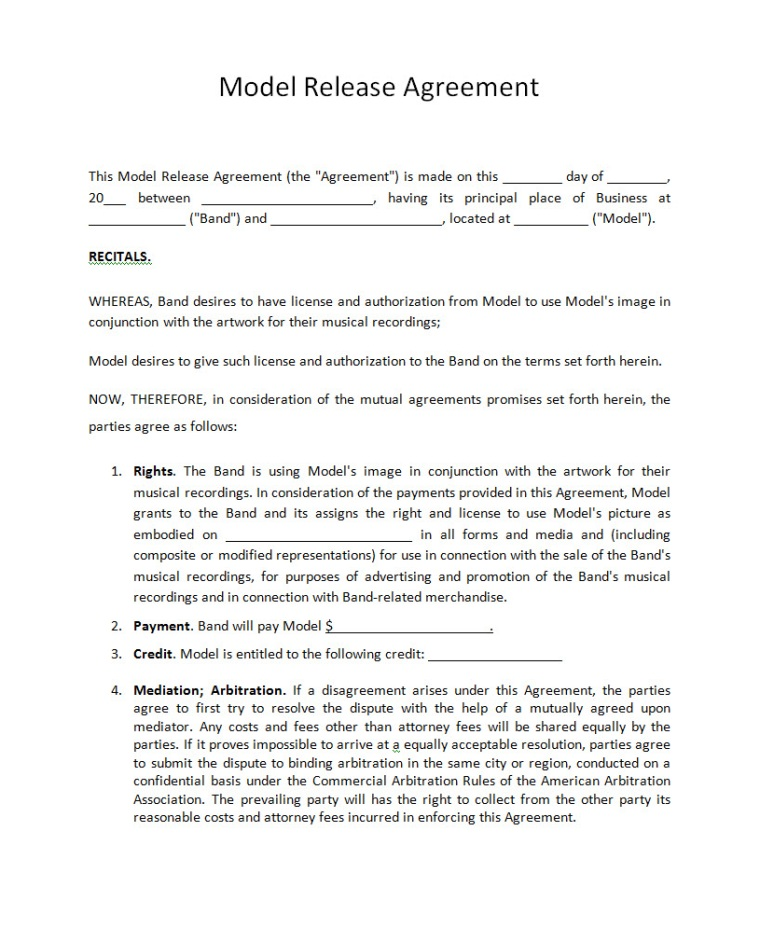 Band Partnership Agreement  Music Contracts For Bands