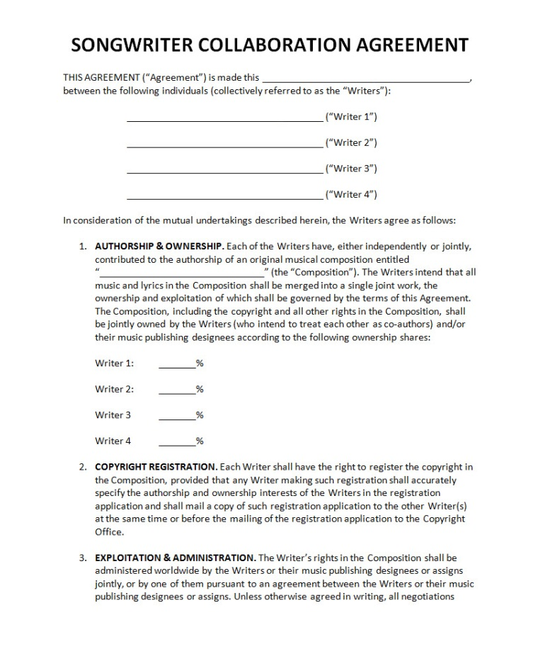 Pin band partnership agreement form on pinterest for Collaboration contract template